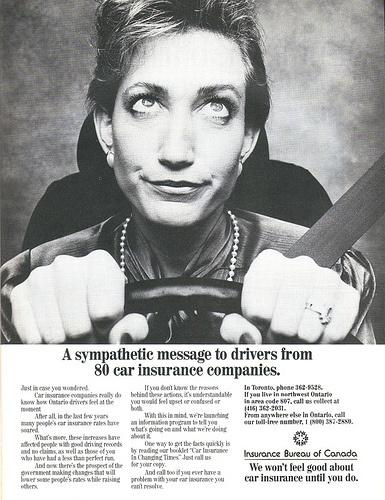 Vintage car insurance ad