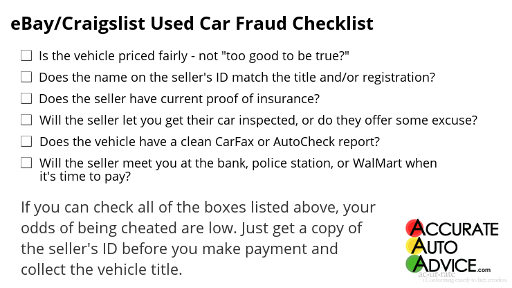 Craigslist eBay Used Car Fraud Checklist